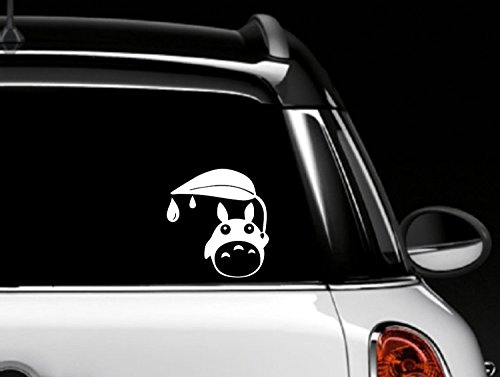 CMI238 Totoro Car Window holding a leaf rain decal vinyl skin | 5.75