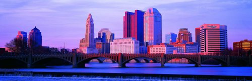 Panoramic Wall Decals - Columbus Ohio Skyline (4 Foot Wide Removable Graphic) front-1059769