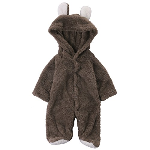 Baby Boys Girls Soft Plush Bear Hooded Rompers Newborn Bodysuits Footies Clothes (12-18M, brown)
