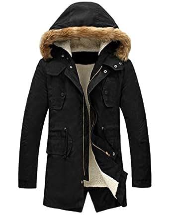 LILBETTER Men's Hooded Faux Fur Lined Warm Coats Outwear