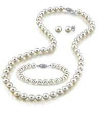 14K Gold 7-8mm White Freshwater Cultured Pearl Necklace, Bracelet & Earrings Set, 17″ – AAA Quality