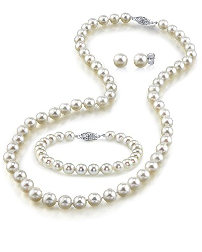 14K Gold White Freshwater Cultured Pearl Necklace, Bracelet & Earrings Set