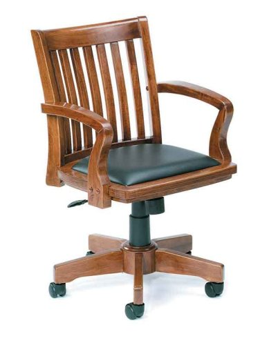 Boss Norstar B651 Fruitwood Solid Wood Mission Bankers Desk Chairs with Black Leather Seat Pad