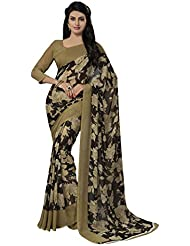 Ishin Faux Georgette Beige & Black Floral Printed Women's Saree.