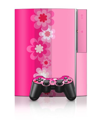 Playstation 3 Skins and Matching (Ps3) Controller Skin Retro Pink Flowers