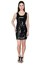 Tapyti Women's Georgette Shift Dress (TAP-LD-3102M_Black_Medium)