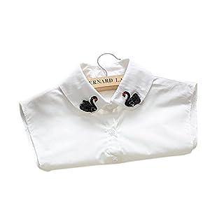 Joyci Lovely Swan Cotton Cloth False Collar Blouse Peter Pan Dickey Fake Collar (Swan B)