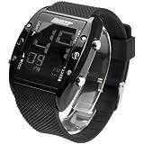 バウンサー 腕時計 メンズ サイズ BOUNCER デカデジ ブラック×ブラック