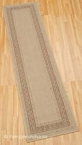Non-Slip Greek Key Beige Runner 60x230cm (2'x7'6'')