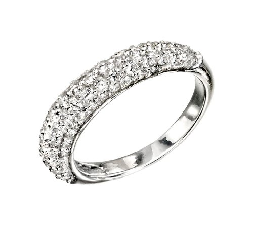 Narrow Domed Clear CZ Ring in Sterling Silver- Size L 1/2