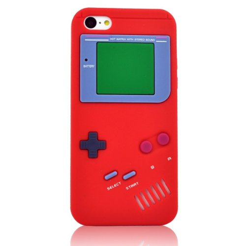Jbg Red Iphone 5C New Styel Retro Gameboy Design Silicone Soft Gel Rubber Case Protective Cover For Apple Iphone 5C