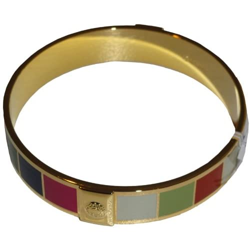 Amazon.com: Coach Half Inch Legacy Stripe Bangle Bracelet Gold