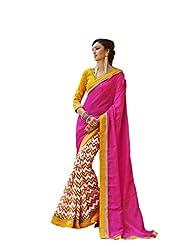 Status Pink Color Printed Saree On Bhagalpuri Silk Fabric. - B00O28Q5RI