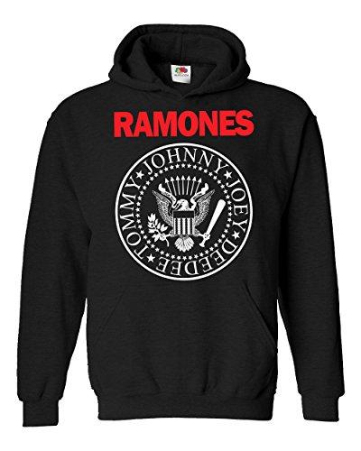 "Felpa Unisex ""Ramones - Bicolore"""" - Felpa con cappuccio rock band LaMAGLIERIA, M, Nero"