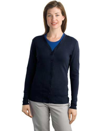 Port Authority L515 Ladies Cotton Cardigan - True Navy - Xxl