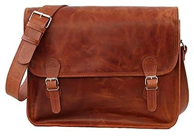 LA SACOCHE (L) cuir couleur naturel Besace bandoulière style Vintage (A4) PAUL MARIUS Taille L