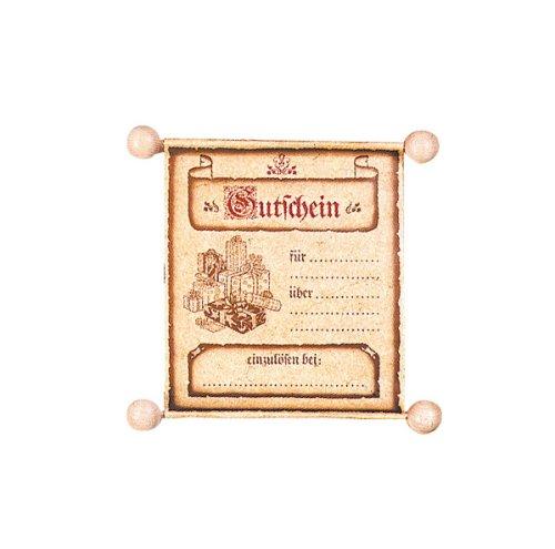 Gutscheinrolle - edel aus Papier, Holzrolle + Satinband
