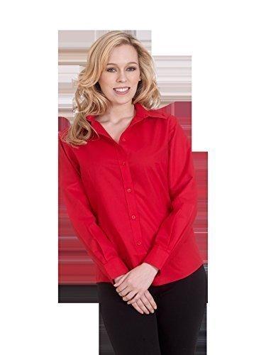 Donna Popeline T-shirt Manica Lunga Camicetta Casuale Formale Business Lavoro Uniforme - sintetico, Bianco, 65% poliestere 35% cotone, Donna, XXXX-Large