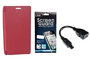 KolorEdge Flip Cover + Screen Protector + OTG Cable for Nokia Lumia 720 Pink