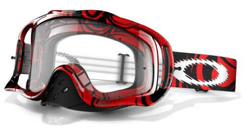 Oakley Crowbar MX Red Tribal Goggles with Clear Lens