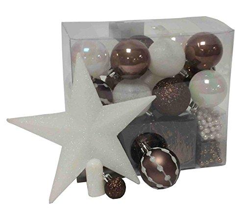 Lot-dco-Nol-Kit-44-pices-pour-dcoration-sapin-Guirlandes-Boules-et-Cimier-Thme-couleur-Blanc-et-Chocolat