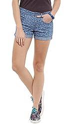 Dog Houndstooth Denim Shorts - L