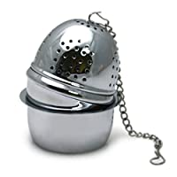Chrome Tea Ball Infuser with Drip Cup - 2' x 1.5'