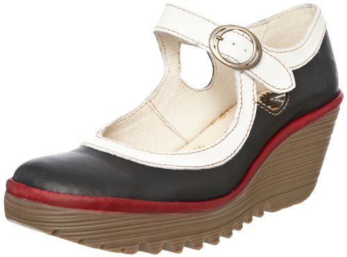 Fly London Women's Yori Black/OffWhite/Red Wedges Heels P500031045 6 UK