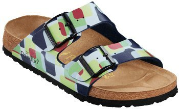 Image of Papillio Arizona Sandals Birko-Flor, Blue Squares Wall, With A Narrow Insole (B004YHKDUW)