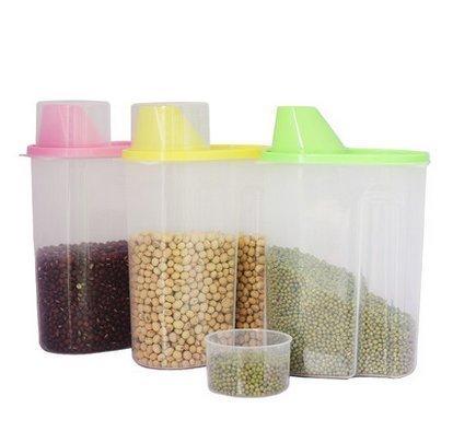 HOMEPUFF Boîte à Céréales / Boîtes de conservation Nourriture Aliments Stockage Cereal Storage Box pour Noix, thé, sucre, bonbons, maïs, blé, haricots, et d'autres céréales etc. (1.9L, Bleu)