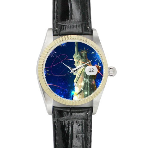 Silhouette Statue Of Liberty On American Flag Black Leather Alloy High-Grade Watch