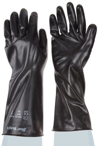 Showa Best 874 Unlined Butyl Glove, Smooth Grip, Rolled Cuff, Chemical Resistant, 14 mils Thick, 14