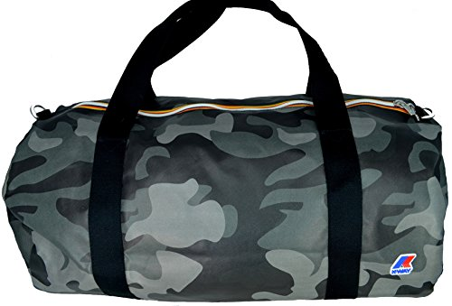 Borsa Borsone Viaggio Palestra Uomo Donna K-Way Bag Men Woman K-Camouflage Round Duffle K1A03-Nero