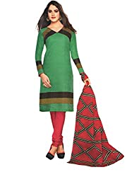 M.S. Boutique - Unstitched Cotton Dress Material - Green - (MS-SBT-232)