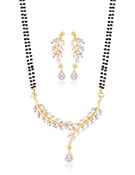 I Jewels Gold Plated American Diamond Mangalsutra Pendant With Chain & Earrings For Women D041