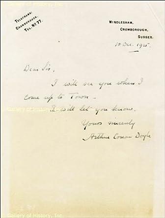 SIR ARTHUR CONAN DOYLE - AUTOGRAPH LETTER SIGNED 12/10/1925 at Amazon