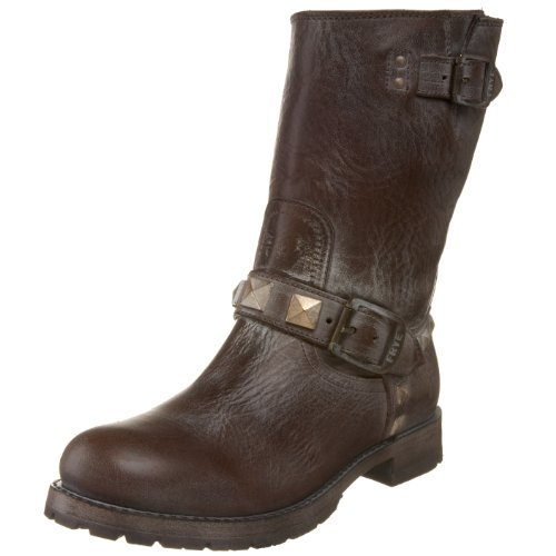FRYE Women's Rogan Engineer Studded Boot , Dark Brown, 5.5 M US