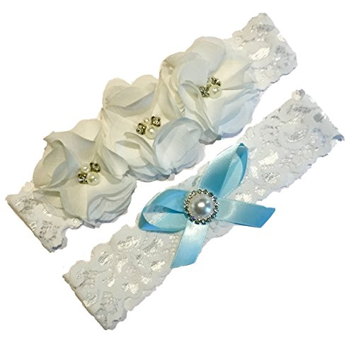 Wedding Garter Set Beautiful White Silk Flowers Vintage Lace, Rhinestones and Pearls