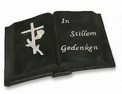17cm Grab Deko offenes Buch + Kreuz Grabschmuck Grabstein aus Steinharz schwarz