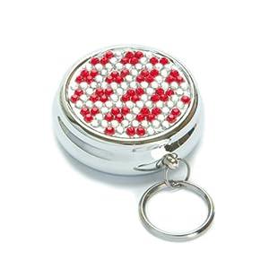 Red Crystal Diamond Pill Box Keychain