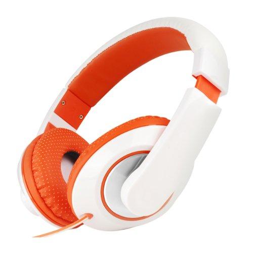 Nuoya001 Boys Girls Kids Over The Head Dj Headphones Ipod Iphone Kindle Laptop +Mic (White Orange)