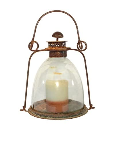 Uptown Down Found Metal Lantern with Glass Globe & Candle, Clear