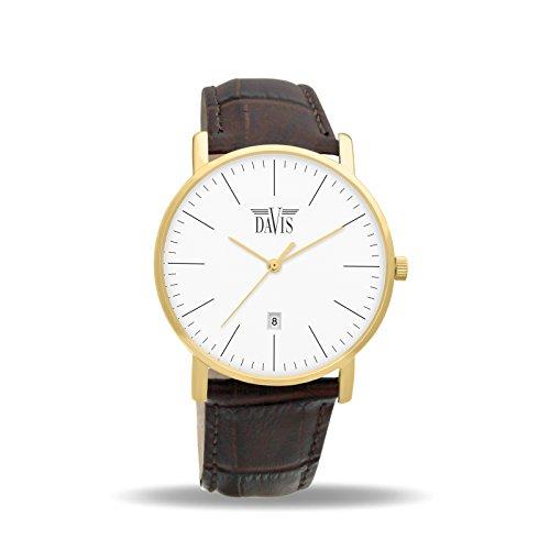 Davis 1994 - Montre Design Classique Homme Femme Acier Or Jaune Extra Plate Cadran Blanc Date Bracelet Cuir Marron