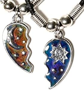 Sun and Moon Bestfriends Necklace on Mood Heart