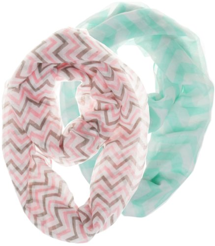 2 Pack of Soft Light Weight Zig Zag Chevron Sheer Infinity Scarf (Pink/Gray/White and Big Chevron Lightgreen)