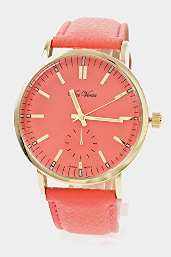 Trendy Fashion Jewelry Round Face Leather Band Watch By Fashion Destination | (Coral)