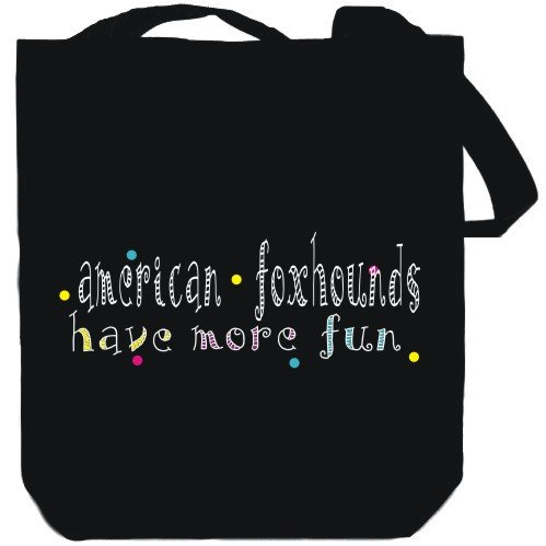 Canvas Tote Bag Black American Foxhounds have more fun Dogs