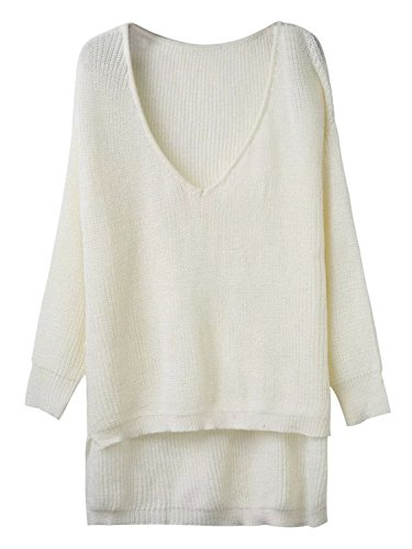 Choies Women White V-neck Ribbed Knit Casual Slouchy Pullover Jumper Sweater Onesize