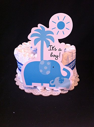 Blue Safari Elephant Mini Diaper Cake - Baby Shower Gift Or Centerpeice front-49002