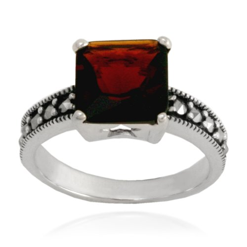 Sterling Silver Marcasite and Garnet Colored Glass Square Ring, Size 7